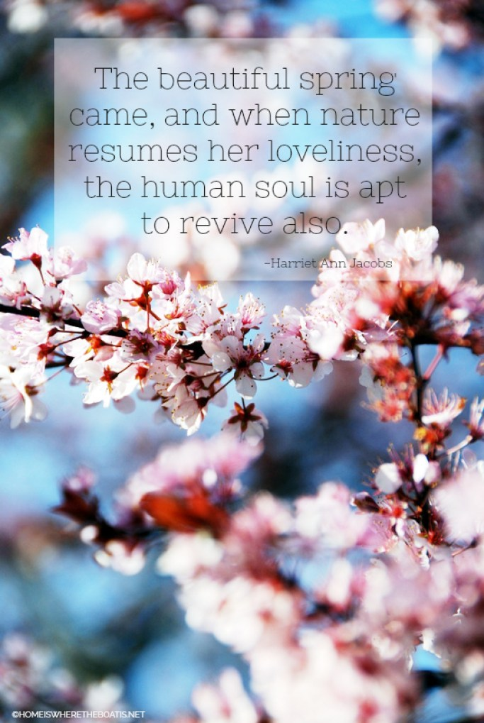 """""""The beautiful spring came, and when nature resumes her loveliness, the human soul is apt to revive also."""" - Harriet Ann Jacobs"""