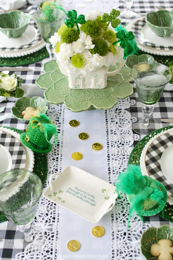 'Hats Off to Leprechauns' St. Patrick's Day Table with Belleek Teapot Flower Arrangement | ©homeiswheretheboatis.net #stpatricksday #tablescapes #flowers