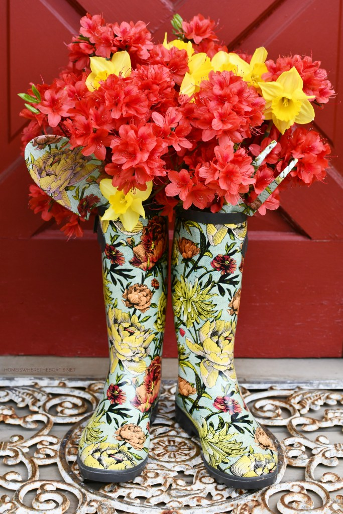 Wellie vases with azaleas and daffodils by Potting Shed | ©homeiswheretheboatis.net