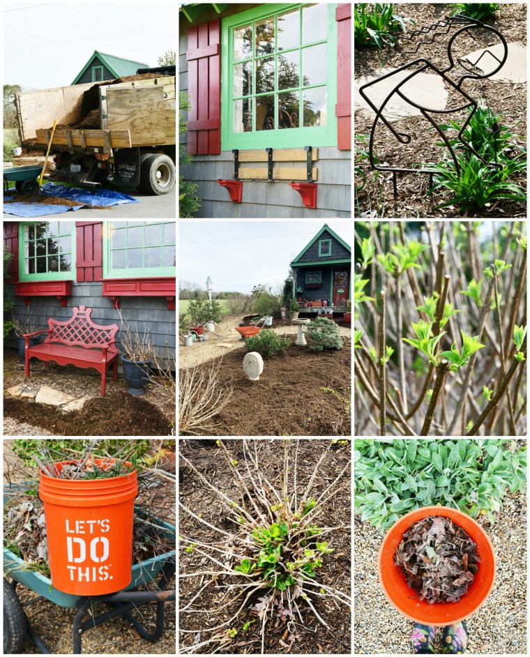 Spring garden clean up and mulch around the Potting Shed | ©homeiswheretheboatis.net