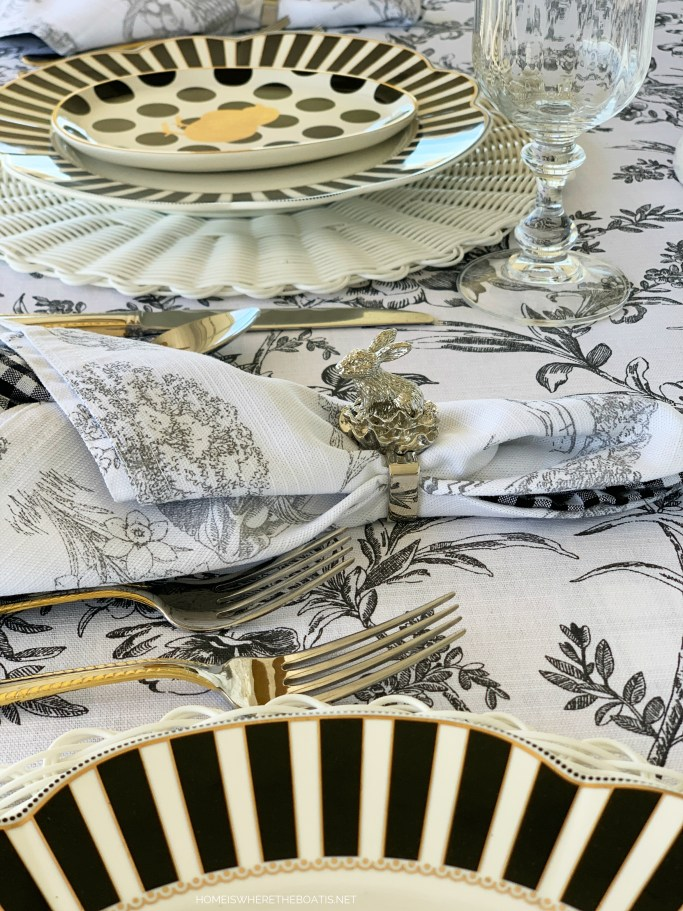 Black and White Easter Tablescape | ©homeiswheretheboatis.net #easter #tablescapes #bunnies