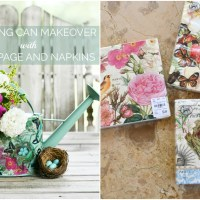 DIY Watering Can Makeover with Decoupage and Napkins