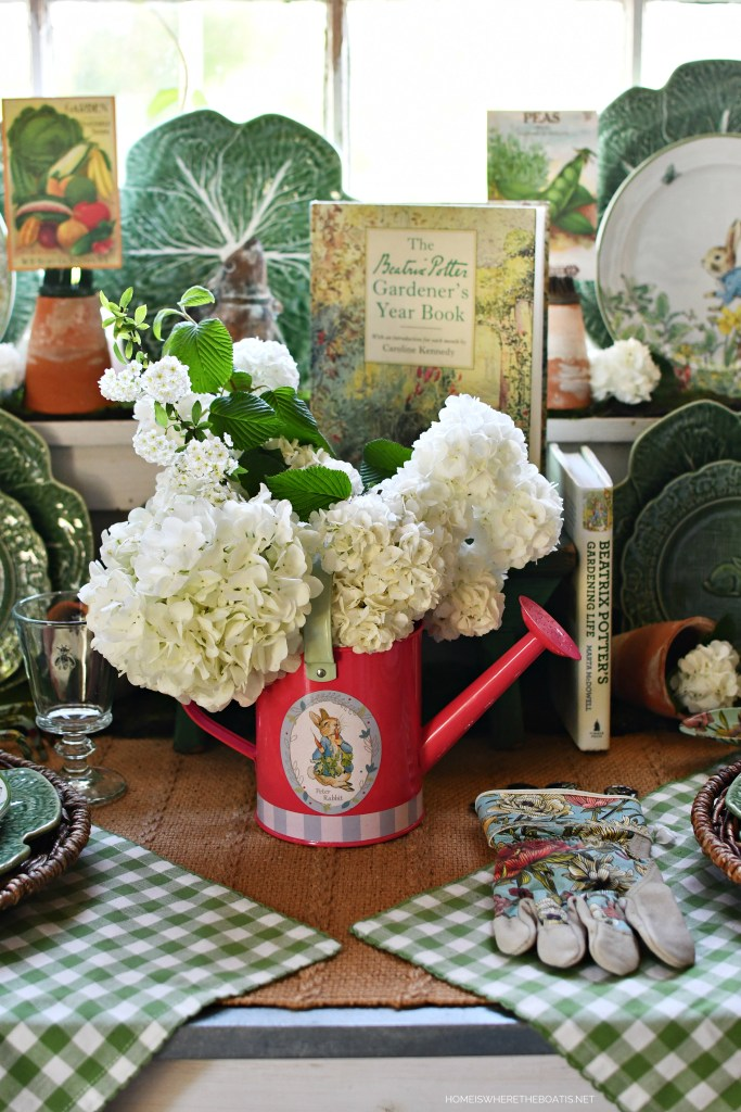 Tabletop Gardening with Peter Rabbit | ©homeiswheretheboatis.net #spring #garden #tablescapes #peterrabbit