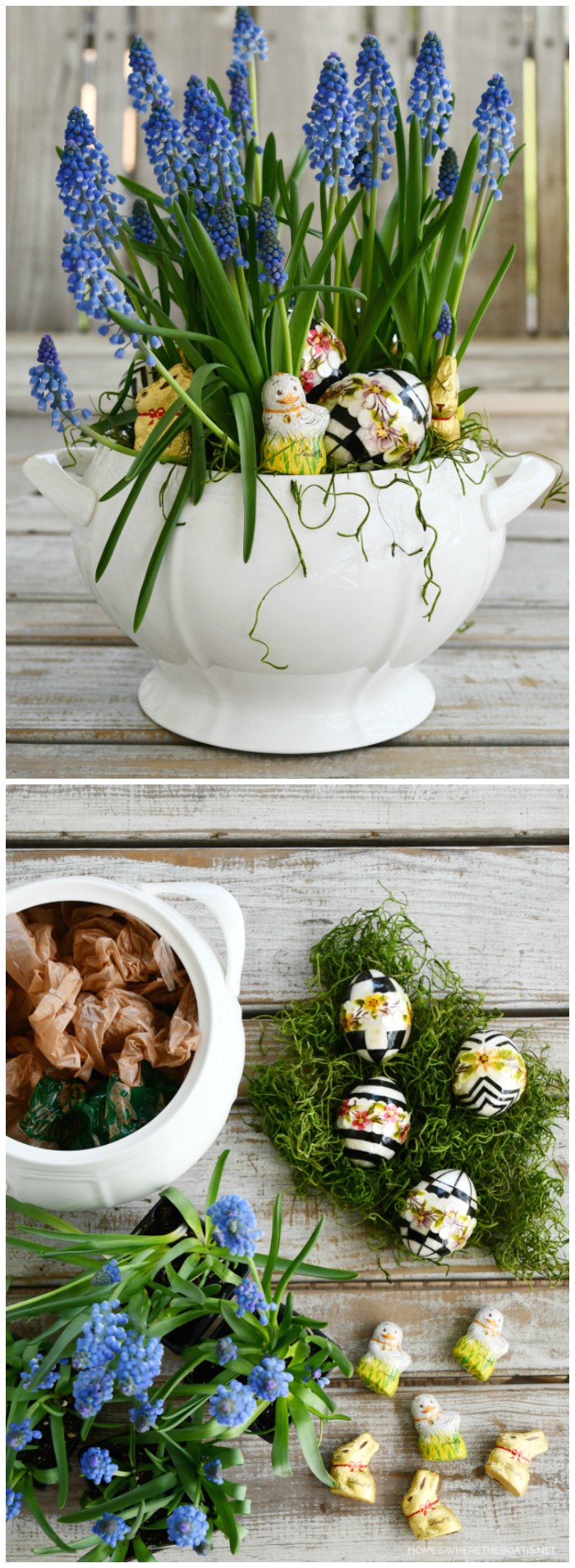Easter centerpiece with muscari, eggs and Lindt mini chocolate bunnies and chicks | ©homeiswheretheboatis.net