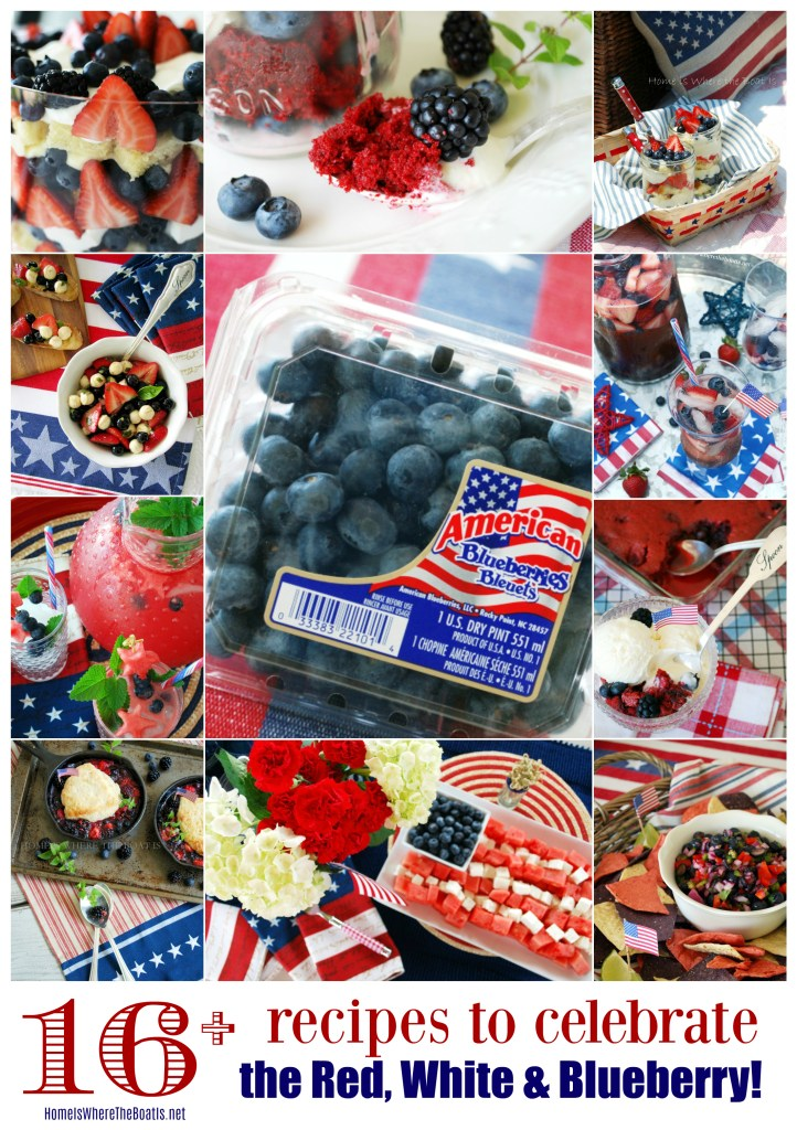 16+ Patriotic Recipes to Celebrate the Red, White and Blueberry! | ©homeiswheretheboatis.net #patriotic #recipes #4thofjuly #desserts #appetizers #memorialday #cocktails