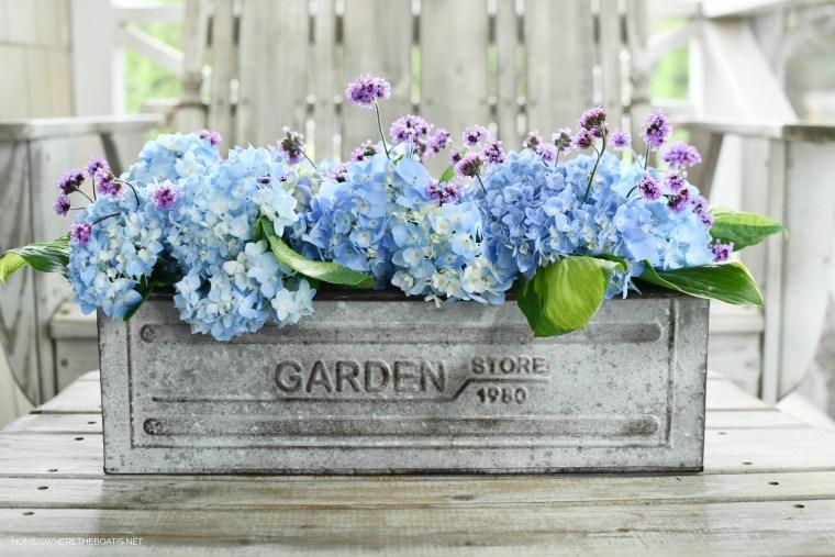 Garden flower arrangement with Endless Summer Hydrangeas, hosta leaves, Verbena Lollipop | ©homeiswheretheboatis.net #flowers #tablescapes #hydrangeas