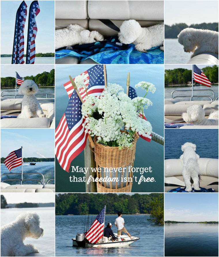 Memorial Day and Boating with Dogs | ©homeiswheretheboatis.net #flag #memorialday #lake #bichonfrise