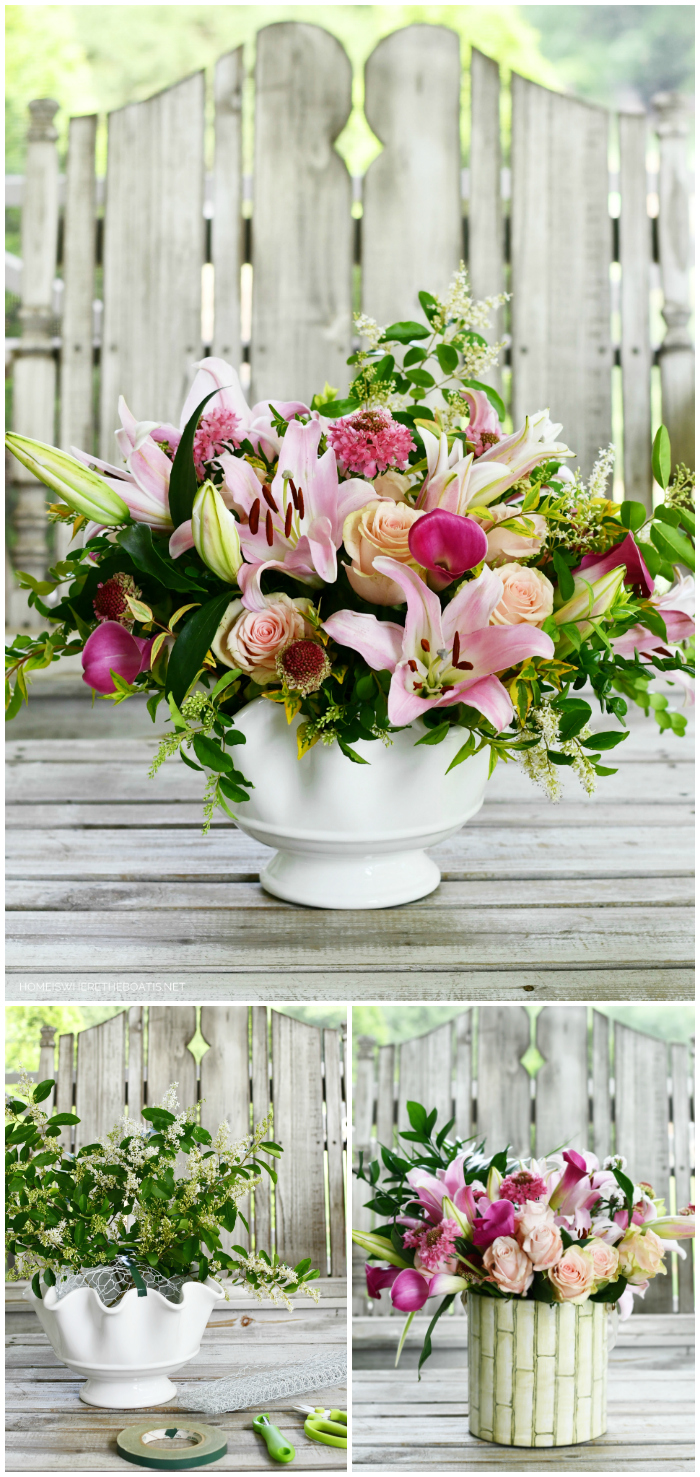 DIY Flower arrangement with market box of flowers and  garden foliage | ©homeiswheretheboatis.net