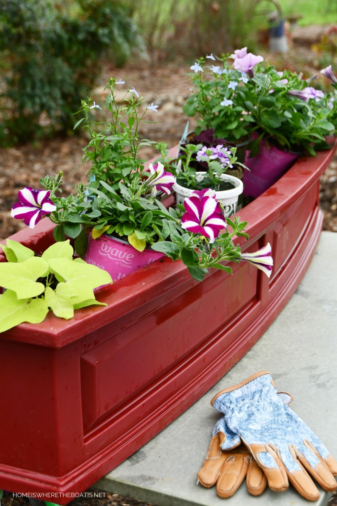 Planting window box for spring | ©homeiswheretheboatis.net #flowers #garden