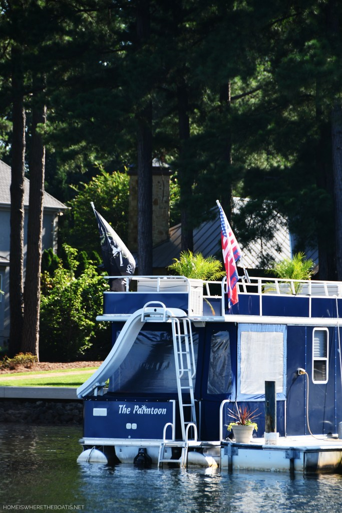 The Palmtoon | ©homeiswheretheboatis.net #flag #lake #pontoon