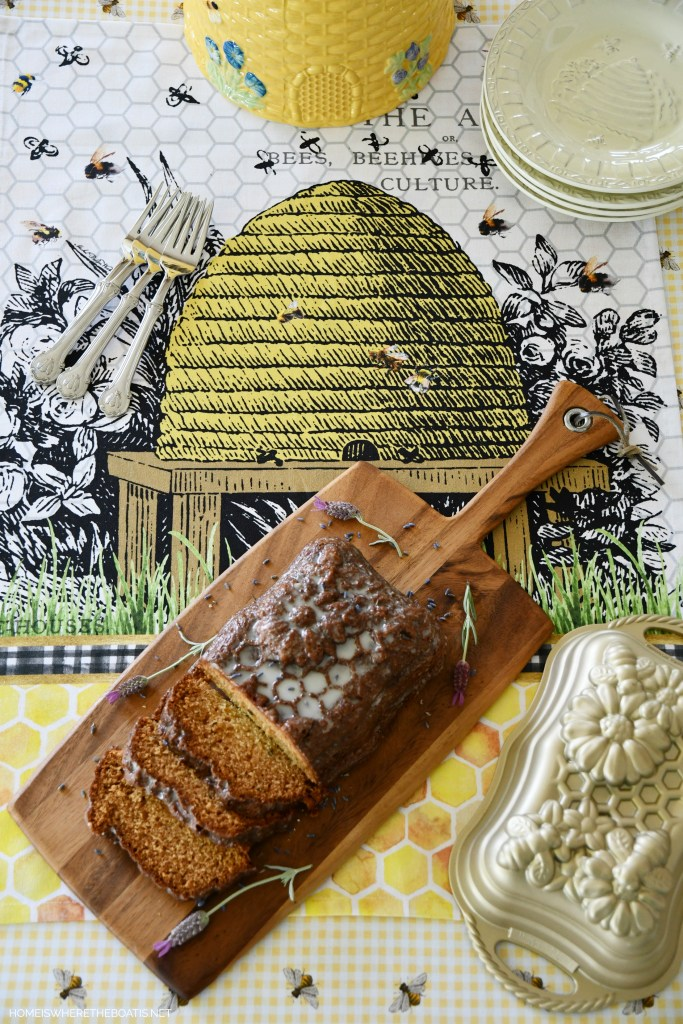 Honey Lavender Lemon Loaf with Lemon Glaze | ©homeiswheretheboatis.net #bees #cake #lemon #lavender