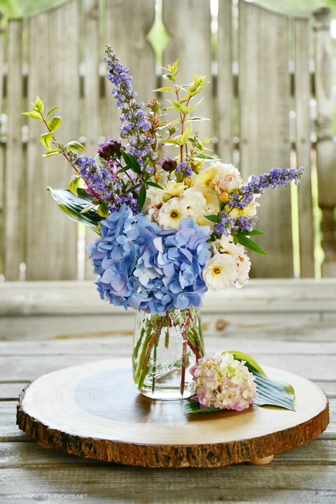Ball jar bouquet of garden flowers and Flute jar giveaway | ©homeiswheretheboatis.net #jars #flowers
