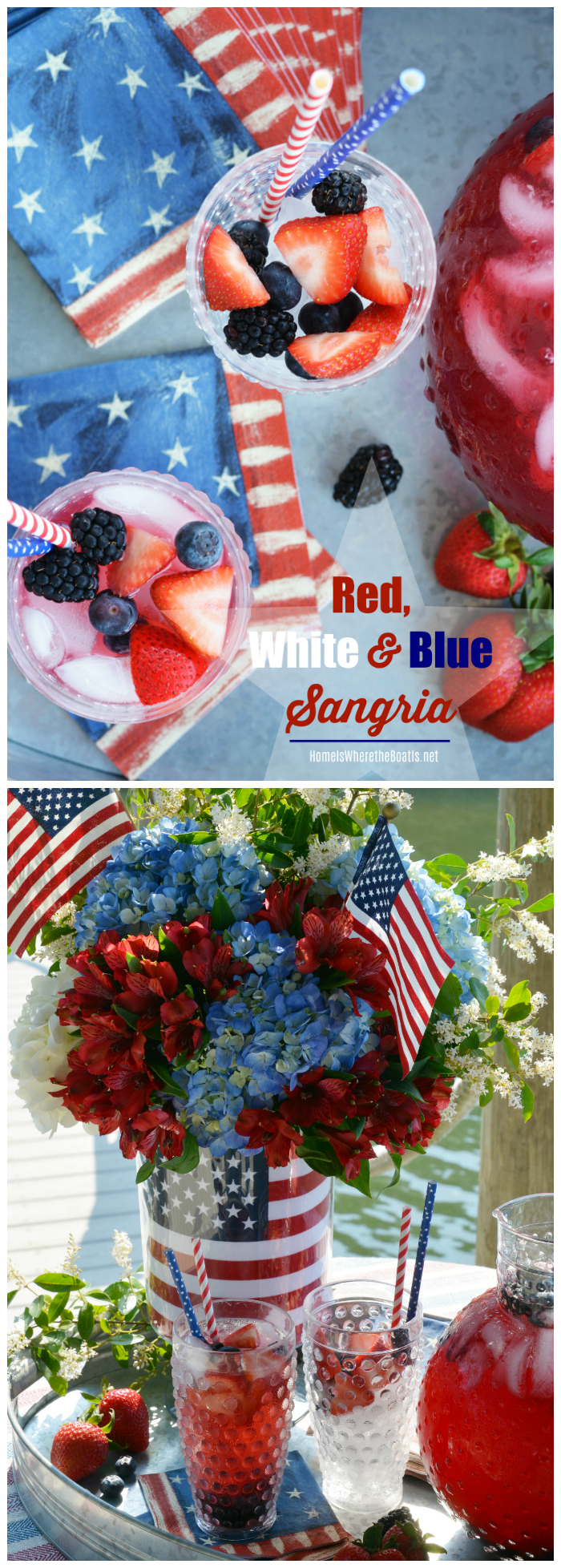 Red, White and Blue Sangria, as easy to mix as it is to drink! | ©homeiswheretheboatis.net #4thofjuly #cocktail #redwhiteandblue