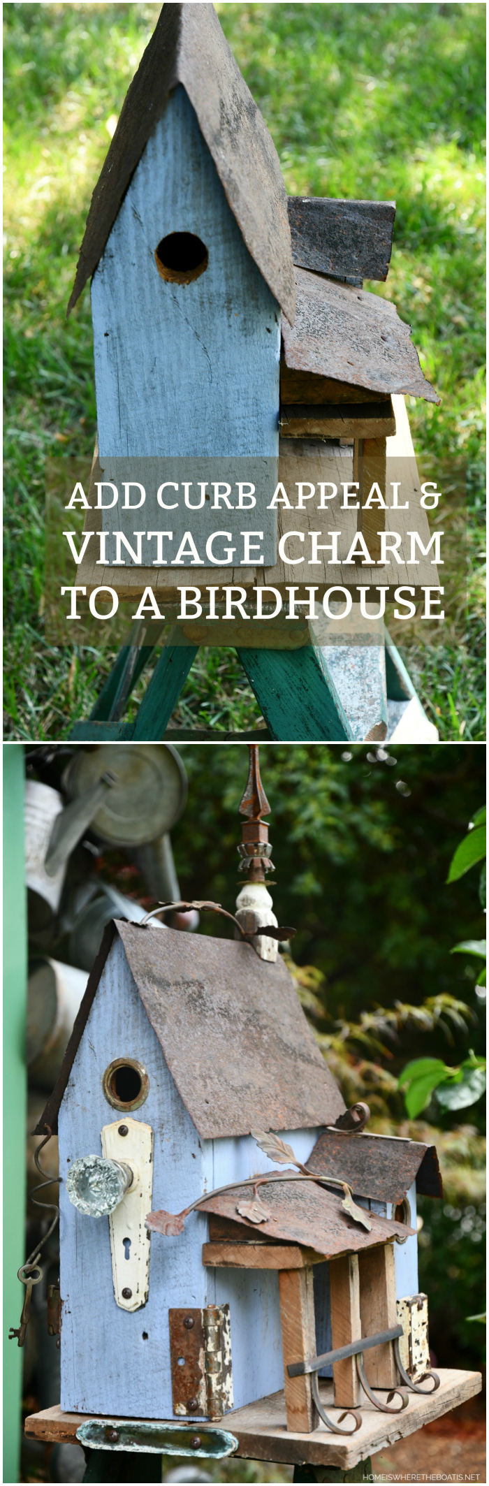 How To Add Curb Appeal & Vintage Charm To A Birdhouse | ©homeiswheretheboatis.net #diy #repurpose #craft #birdhouse #vintage