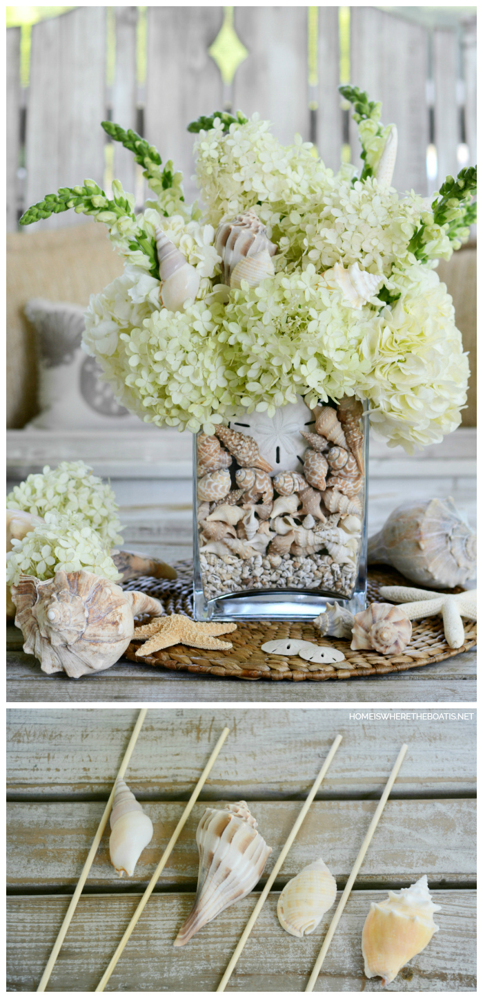 DIY Floral Arrangement with Shells | ©homeiswheretheboatis.net #flowers