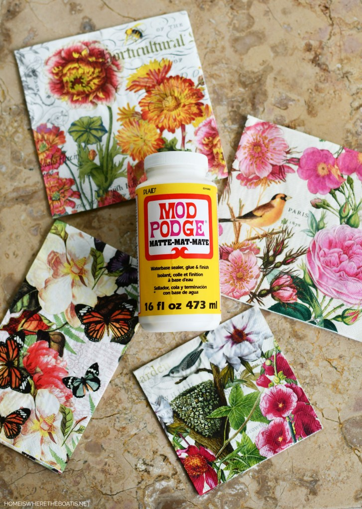 DIY decoupage craft project with napkins | ©homeiswheretheboatis.net #DIY #craft