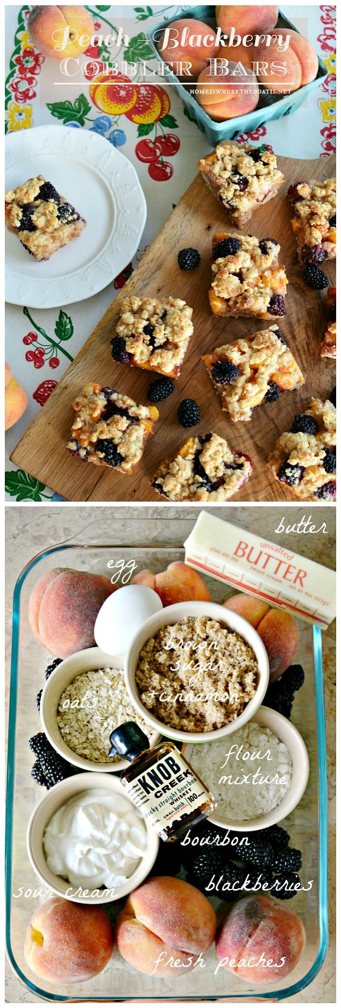 Peach-Blackberry Cobbler Bars | ©homeiswheretheboatis.net #recipes #peaches #desserts #summer
