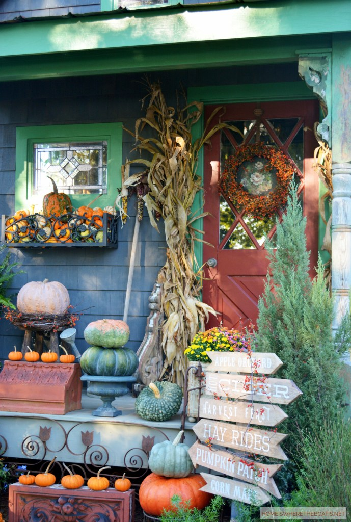 A fall harvest by the Potting Shed | ©homeiswheretheboatis.net #fall #shed #pumpkins #mums