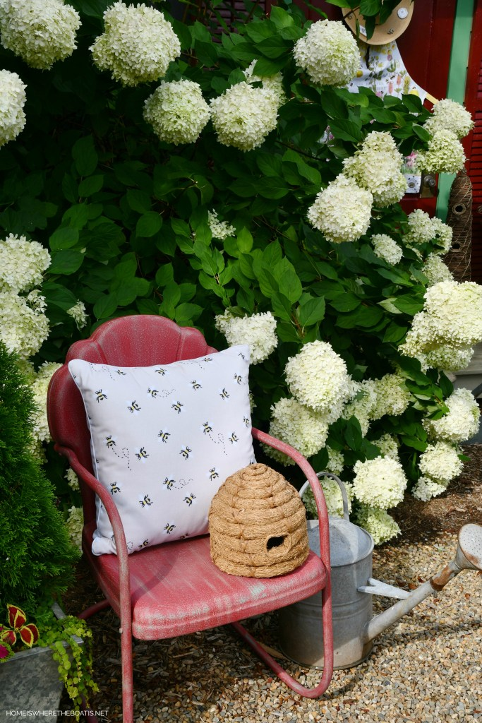 Bee pillow and bee skep by Potting Shed | ©homeiswheretheboatis.net #bees #flowers #garden #shed