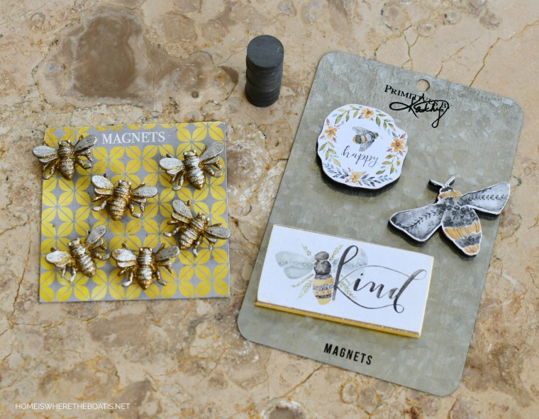 Bee magnets for door decor for Potting Shed | ©homeiswheretheboatis.net #bees