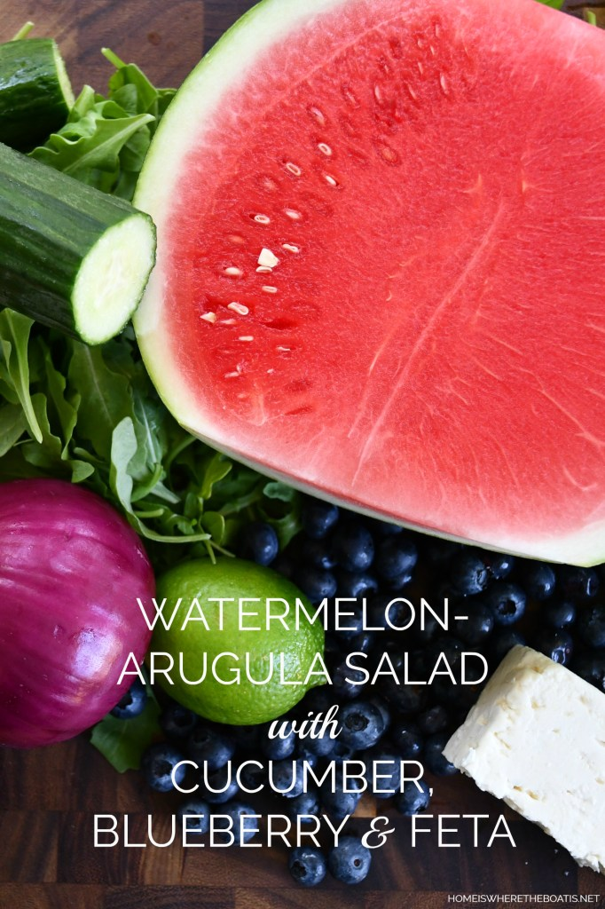 Watermelon - Arugula Salad with Cucumber, Blueberry & Feta | ©homeiswheretheboatis.net #watermelon #summer #salad #healthy #recipes