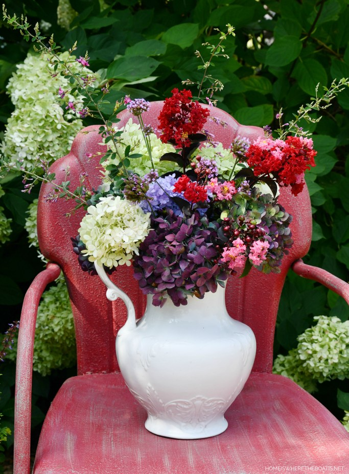 Garden bouquet in ironstone pitcher | ©homeiswheretheboatis.net #garden #flowers #hydrangeas