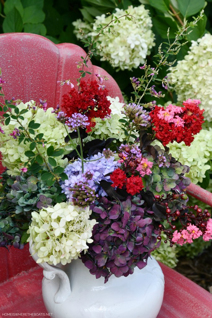 Summer garden bouquet in ironstone pitcher | ©homeiswheretheboatis.net #flowers #garden #hydrangeas