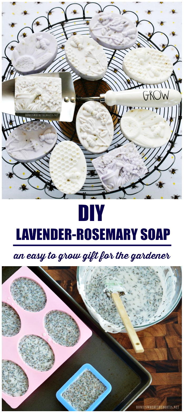 Easy DIY Lavender-Rosemary Soap | ©homeiswheretheboatis.net #DIY #bees #gifts