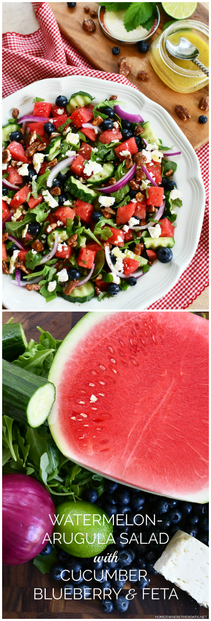 Watermelon - Arugula Salad with Cucumber, Blueberry & Feta with Honey-Lime Vinaigrette | ©homeiswheretheboatis.net #watermelon #summer #salad #healthy #recipes