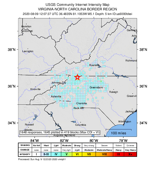 5.1 magnitude earthquake this morning in North Carolina