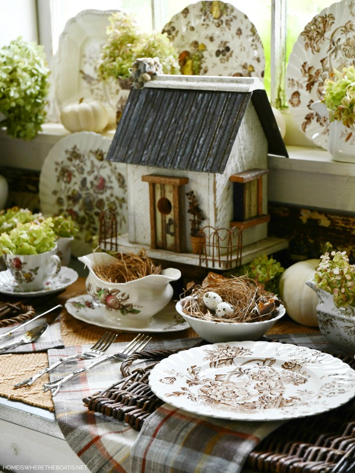 Fall nesting table in Potting Shed with transferware | ©homeiswheretheboatis.net #transferware #fall #shed