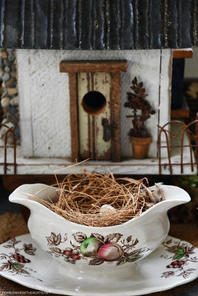 Birdhouse and Harvest Time by Johnson Brothers sauce boat with bird nest | ©homeiswheretheboatis.net #tablescapes #fall #transferware