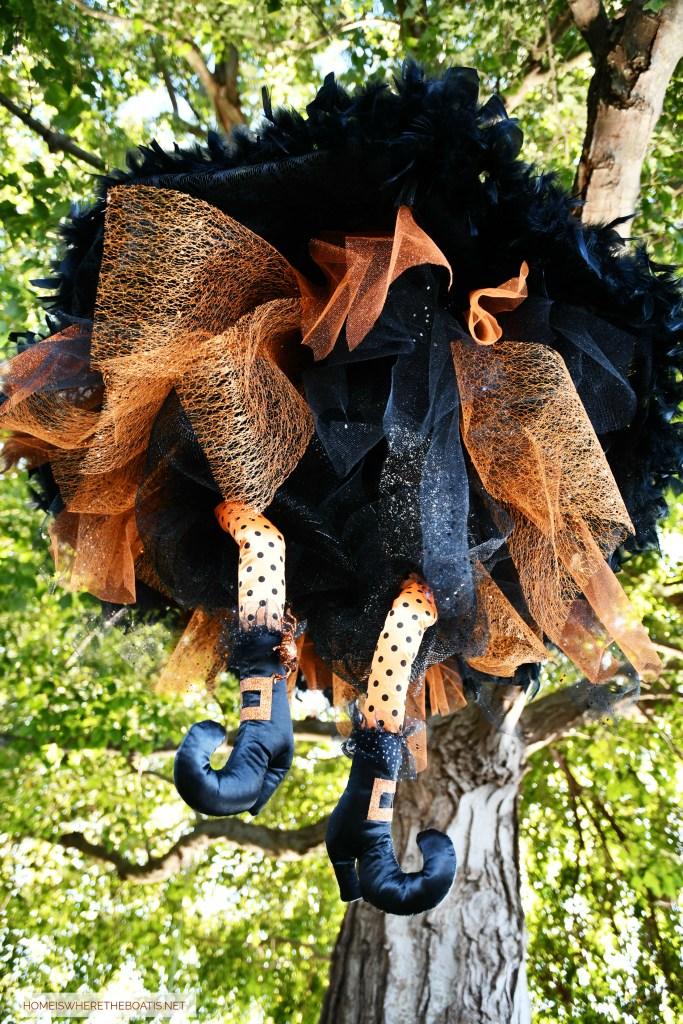 DIY Floating Umbrella Witch for Halloween   ©homeiswheretheboatis.net #Halloween #witch #DIY