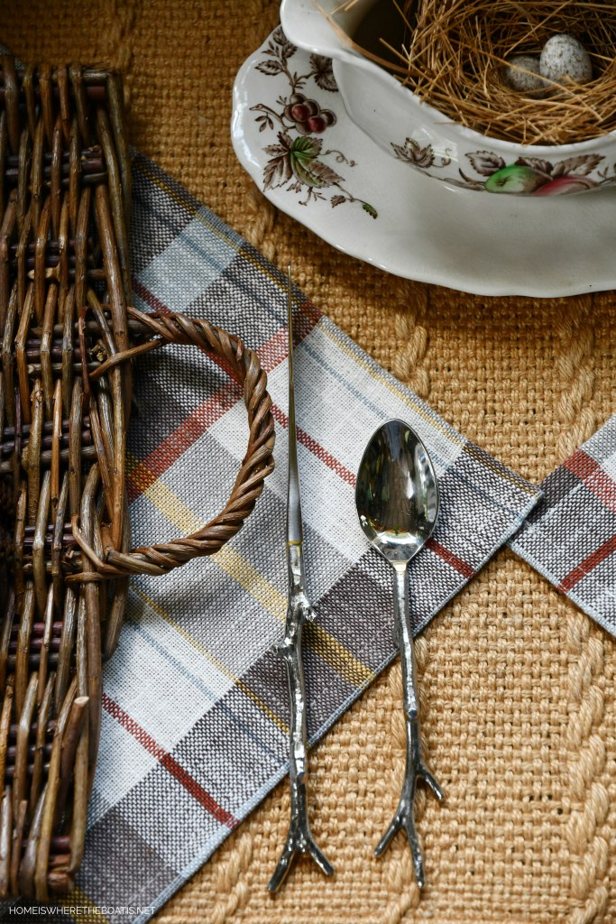 Fall Nesting Twig Flatware | ©homeiswheretheboatis.net #tablescapes #fall #transferware