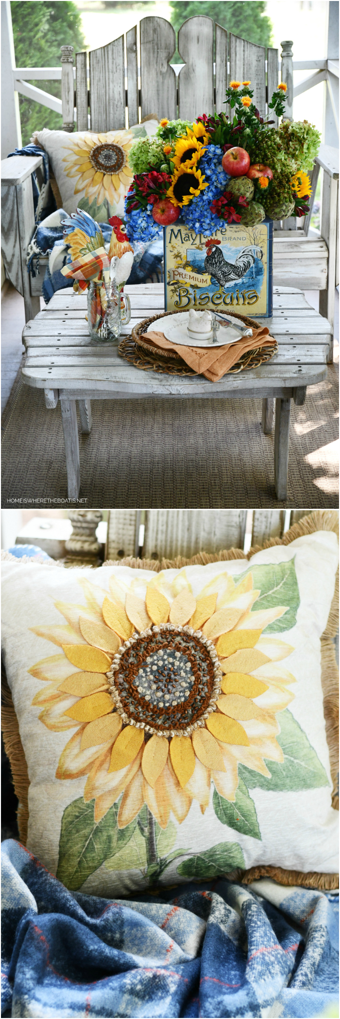 A Sunny Transition Flower Arrangement + Crowing with Delight   ©homeiswheretheboatis.net #hydrangeas #sunflowers #rooster