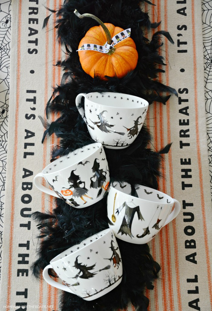 Witches Tea Party It's All About the Treats | ©homeiswheretheboatis.net #tablescapes #Halloween #witch