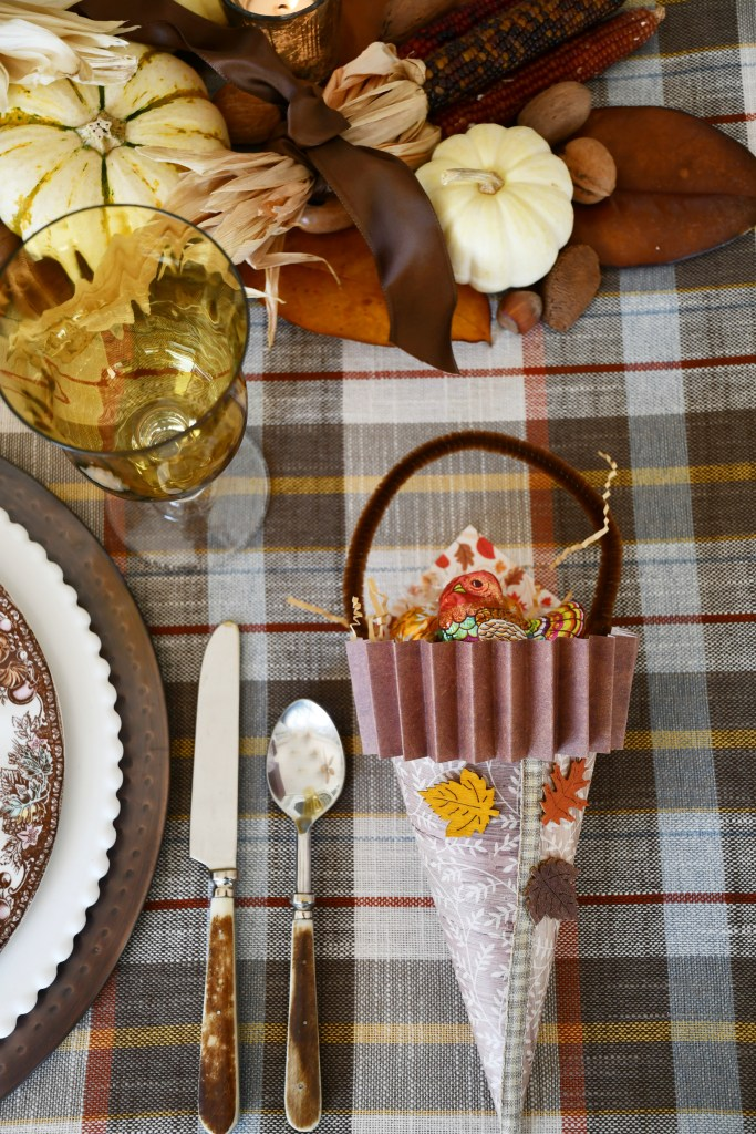Thanksgiving table with DIY Cone-ucopias | ©homeiswheretheboatis.net #thanksgiving #tablescapes #DIY