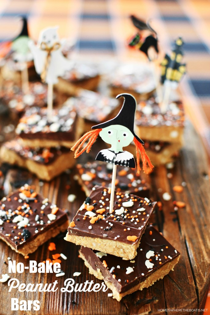 Easy to Scare Up: No-Bake Peanut Butter Bars for Halloween | ©homeiswheretheboatis.net #halloween #bars #recipes #peanutbutter