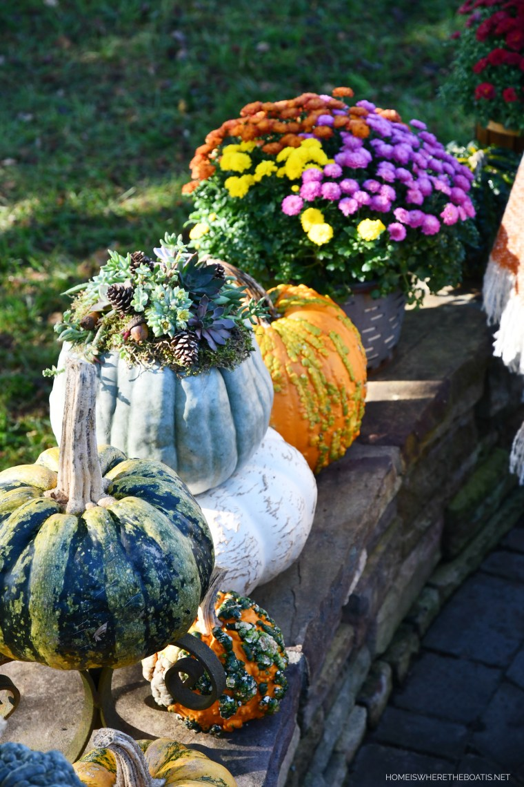 Pumpkins and mums on stone wall | ©homeiswheretheboatis.net #pumpkins #fall