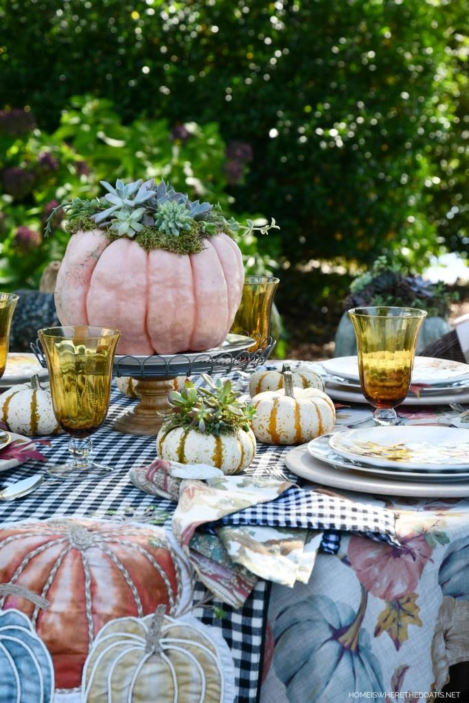 Succulent pumpkin centerpiece and alfresco fall table | ©homeiswheretheboatis.net #fall #tablescapes #alfresco #pumpkins