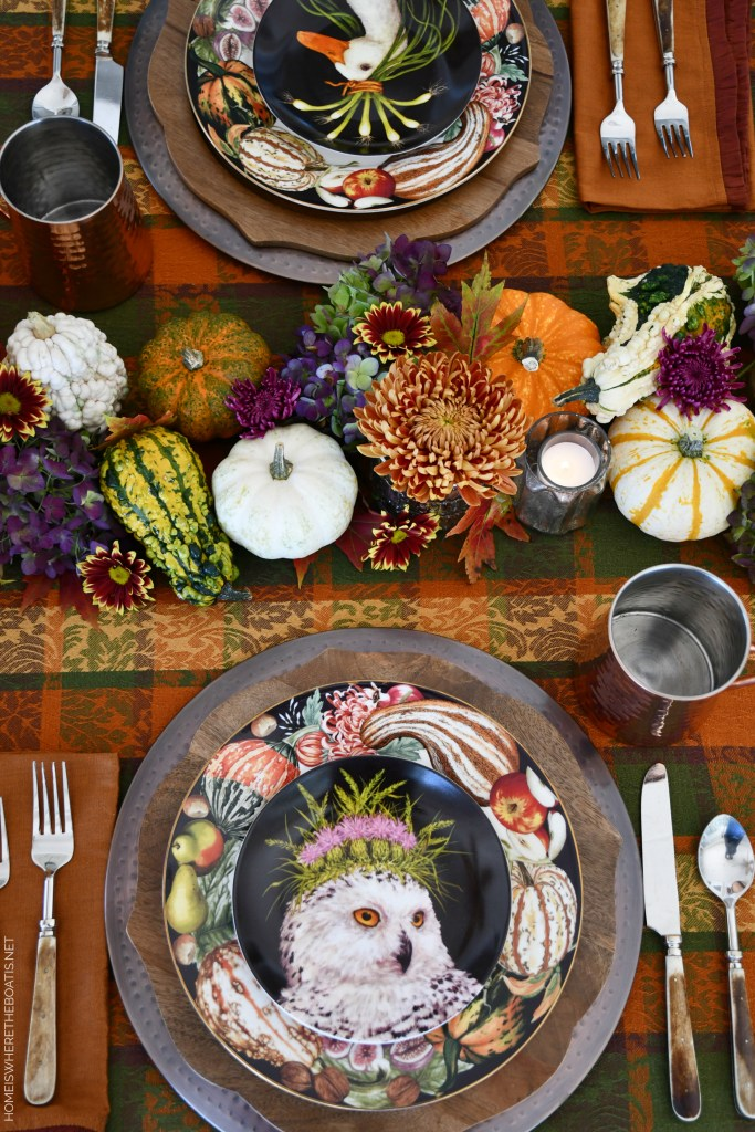 Whimsical Fall Table with Pumpkin-Floral Runner | ©homeiswheretheboatis.net #fall #tablescapes #plaid
