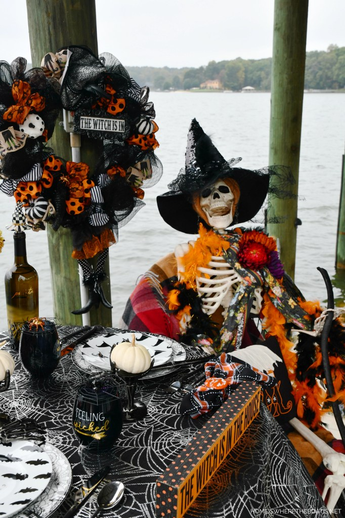 Dockside Dining with Rod and Rowena | ©homeiswheretheboatis.net #halloween #tablescape #skeleton