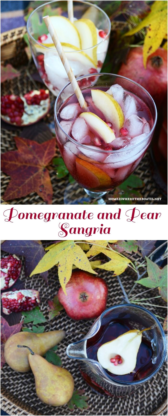 Pomegranate and Pear Sangria, as easy to mix as is to drink! The perfect beverage to serve for a crowd for Thanksgiving! | ©homeiswheretheboatis.net #fall #Thanksgiving #cocktail