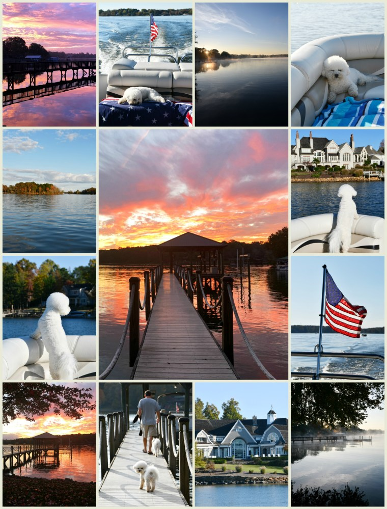 Weekend Waterview Lake Norman | ©homeiswheretheboatis.net #boat #flag #LKN #dogs #sunrise #sunset #bichonfrise