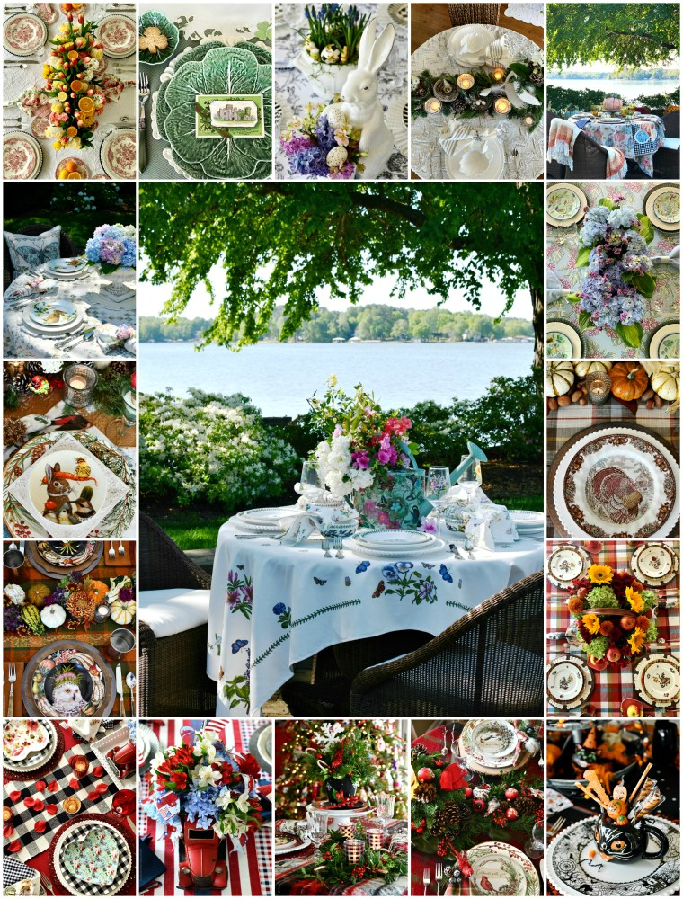 A year of tablescapes, celebrating the seasons and holidays with inspiration and centerpieces for indoor and alfresco dining | ©homeiswheretheboatis.net #tablescapes #roundup #spring #fall #easter #winter #halloween #summer #july4th #christmas #stpatricksday #valentinesday