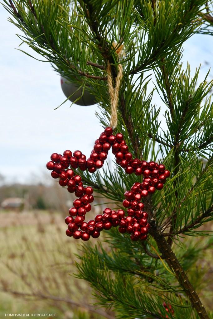 Beaded star Christmas ornament | ©homeiswheretheboatis.net #shed #christmas #greenery #garden