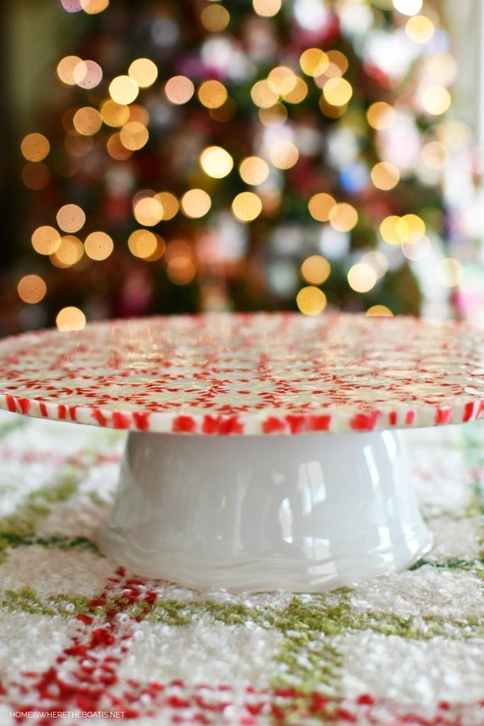 Easy DIY Peppermint Serving Platter | ©homeiswheretheboatis.net #DIY #christmas #craft #easy