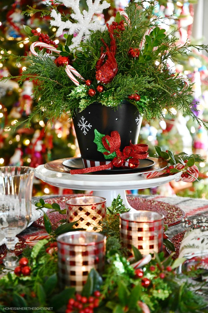 Top Hat Snowman Centerpiece DIY and Table | ©homeiswheretheboatis.net #christmas #snowman #tablescape #DIY