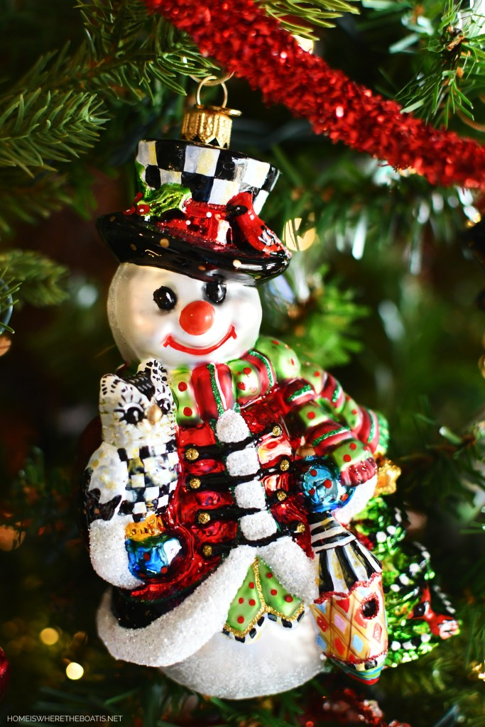 MacKenzie-Childs Courtly Check Snowman Ornament | ©homeiswheretheboatis.net #christmas #snowman #tablescape #DIY