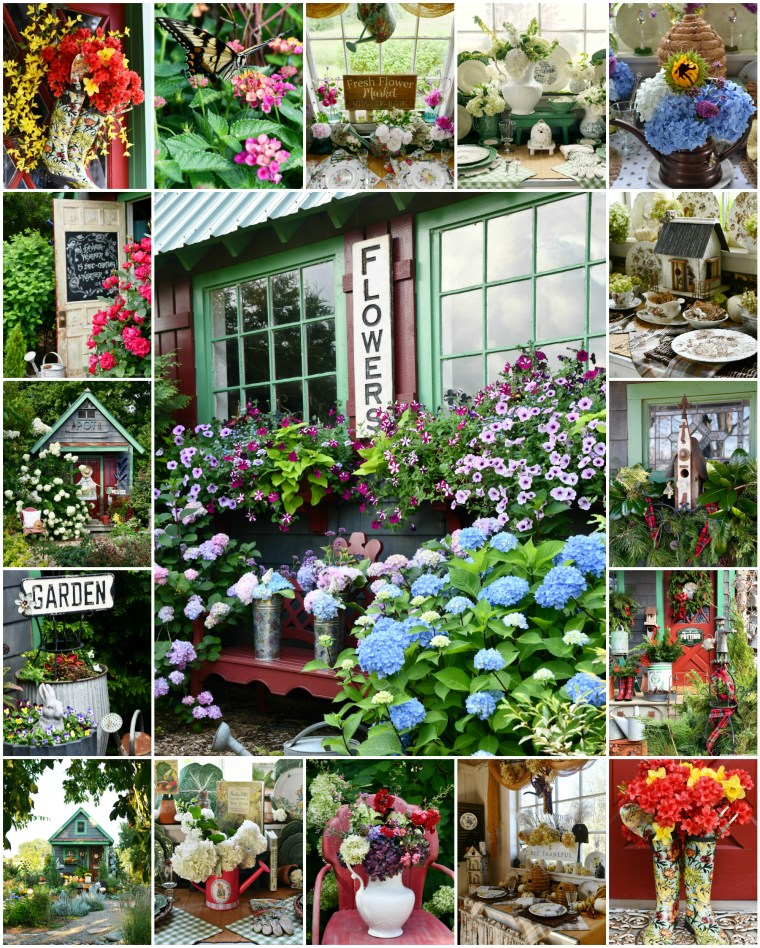 Flowers around the Potting Shed Year in Review | ©homeiswheretheboatis.net #flowers #garden #shed